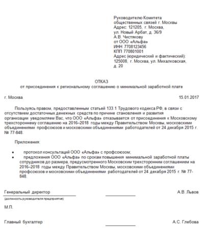 заявление образец на отказ выплат зарплаты по уровню Москвы